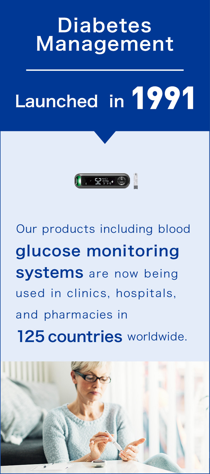 Diagnostics, Launched in 1991. Our products including blood glucose monitoring systems are now being used in clinics, hospitals, and pharmacies in 125 countries worldwide.
