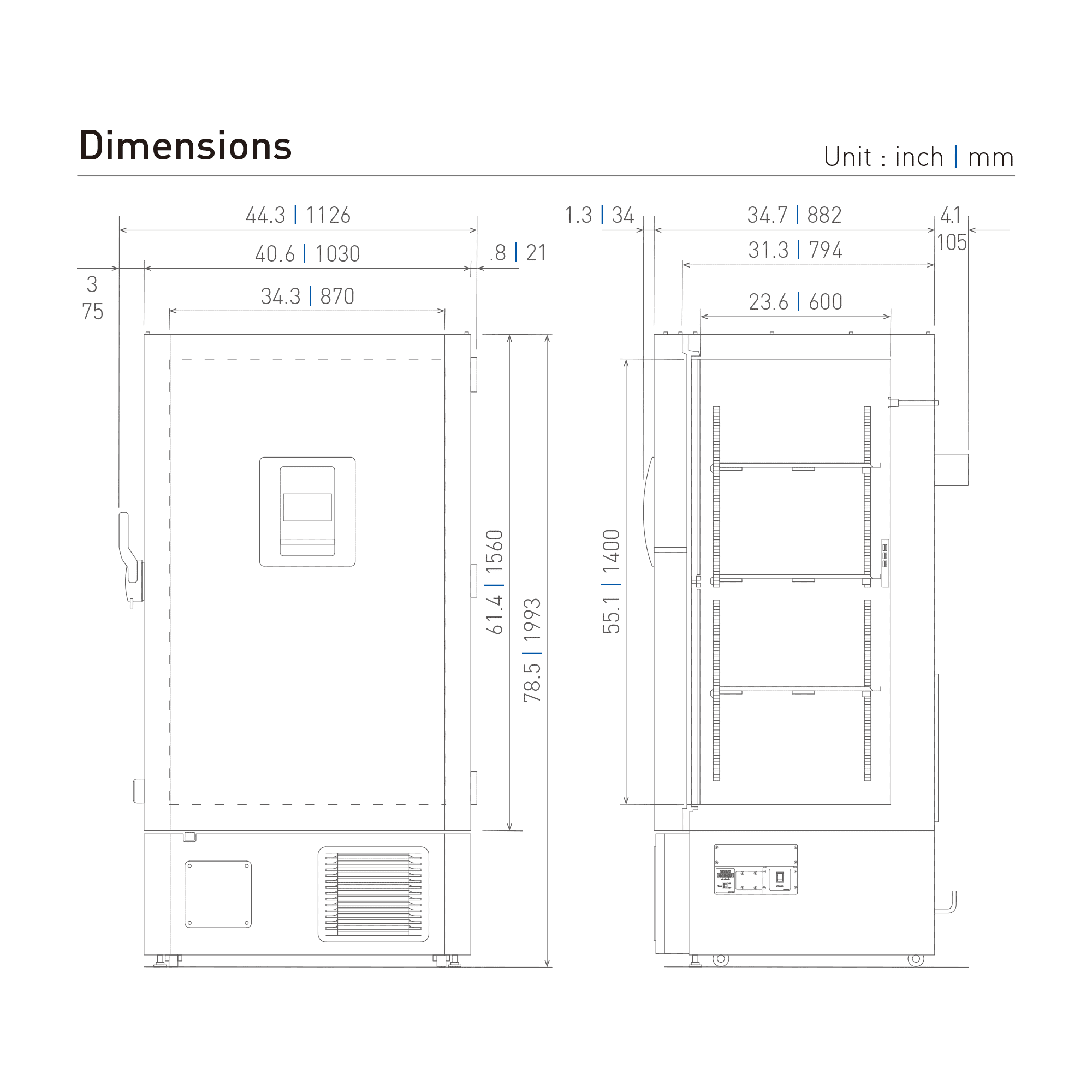 MDF-DU702VH-PA Ultra Low Freezer Dimensional Drawing
