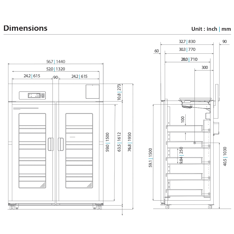 Pharmaceutical Grade Refrigerator MPR-1411R-PA Dimensional Drawing